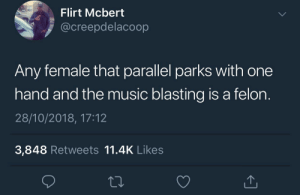 Dank, Memes, and Music: Flirt Mcbert  @creepdelacoop  Any female that parallel parks with one  hand and the music blasting is a felon.  28/10/2018, 17:12  3,848 Retweets 11.4K Likes Prime suspect by KingPZe MORE MEMES