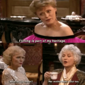 Golden girls memes can't help but be old but gold - Bestfunnypic.com: Flirting is part of my heritage.  Her mother was a slut too.  What do you mean? Golden girls memes can't help but be old but gold - Bestfunnypic.com