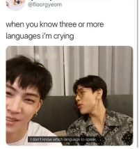 Crying, Language, and Can: @floorgyeom  when you know three or more  languages i'm crying  I don't know which language to speak. I CAN RELATE