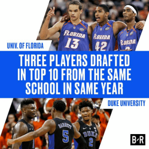 School, Duke, and Florida: FLORIDA LORTDA  13 42  LORDA  UNIV. OF FLORIDA  THREE PLAYERS DRAFTED  IN TOP 10 FROM THE SAME  SCHOOL IN SAME YEAR  DUKE UNIVERSITY  BARAT  BR Cam is headed to the A  Hawks select Cam Reddish with the No. 10 pick