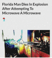 Florida Man, Funny, and Life: Florida Man Dies In Explosion  After Attempting To  Microwave A Microwave We playing real life GTA in Florida