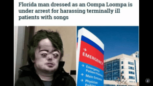 Florida Man, Florida, and Patient: Florida man dressed as an Oompa Loompa is  under arrest for harassing terminally ill  patients with songs  EMERGENCY  Emergency  Patient Parking  Main Entrance  Physician  Parking Oompa Loompa