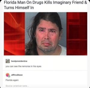 Dank, Drugs, and Florida Man: Florida Man On Drugs Kills Imaginary Friend &  Turns Himself In  bestpresidentna  you can see the remorse in his eyes  afffroditeee  Florida again  Source: american-were... Florida Man Never Fails by BottomSidewaysText2 MORE MEMES
