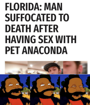 Aah, someone else who appreciates the sexy slither of a lady snake: FLORIDA: MAN  SUFFOCATED TO  DEATH AFTER  HAVING SEX WITH  PET ANACONDA Aah, someone else who appreciates the sexy slither of a lady snake