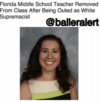"Friday, Memes, and School: Florida Middle School Teacher Removed  From Class After Being Outed as White  supremacist@balleralert Florida Middle School Teacher Removed From Class After Being Outed as White Supremacist – blogged by @MsJennyb ⠀⠀⠀⠀⠀⠀⠀⠀⠀ ⠀⠀⠀⠀⠀⠀⠀⠀⠀ A Florida middle school teacher was removed from her duties after school officials became aware of a white supremacist podcast she hosted under a different name. ⠀⠀⠀⠀⠀⠀⠀⠀⠀ ⠀⠀⠀⠀⠀⠀⠀⠀⠀ According to the Huffington Post, Dayanna Volitich had been hosting a podcast called ""Unapologetic"" under the name ""Tiana Dalichov."" During the podcast, Volitich discussed her integration of white supremacy into her curriculum. She also talked about how she hid her views from school officials, as she shared anti-Semitic conspiracy theories while suggesting Muslims should be eradicated from the Earth. ⠀⠀⠀⠀⠀⠀⠀⠀⠀ ⠀⠀⠀⠀⠀⠀⠀⠀⠀ Once Crystal River Middle School got word of Volitich's hate-filled podcast, the school began to investigate. ⠀⠀⠀⠀⠀⠀⠀⠀⠀ ⠀⠀⠀⠀⠀⠀⠀⠀⠀ ""On Friday, March 2, 2018, the Citrus County School District was made aware of a concerning podcast by a Huffington Post reporter. The reporter indicated they believed one of the persons participating in the podcast was a teacher at Crystal River Middle School,"" the school district said in a statement of Volitich's white supremacy. ""The Human Resources department was notified and an investigation was initiated immediately. The teacher has been removed from the classroom and the investigation is ongoing. Pursuant to Florida Statute an open investigation and materials related to it are exempt from public record and cannon be discussed until the investigation is complete."" ⠀⠀⠀⠀⠀⠀⠀⠀⠀ ⠀⠀⠀⠀⠀⠀⠀⠀⠀ Also under the Dalichov pseudonym, Volitich was caught sharing and retweeting hate speech onto her social media accounts, where she claimed Islam ""legitimizes"" terrorist behavior, and retweeted and commented on posts by neo-Nazis, anti-Semites, and white supremacist. ⠀⠀⠀⠀⠀⠀⠀⠀⠀ ⠀⠀⠀⠀⠀⠀⠀⠀⠀ An investigation is underway."