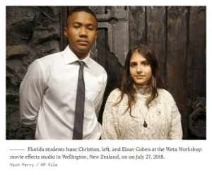 """Sandi Davis, a sociology teacher at Stoneman Douglas (Parkland, FL), helped to organize the trip to New Zealand last year (July 2018) to University of Canterbury in Christchurch. Ms. Davis said """"The trip was planned as both a way to help the [Parkland] students cope with the tragedy they experienced, and also as a way for them to learn how to sustain the anti-gun violence movement they had begun in the Parkland shooting's aftermath.""""  """"It's kind of like the same feelings as when our school shooting happened. It felt so surreal,"""" Isaac Christian, 17, a junior at Stoneman Douglas, said of the latest massacre.  Rachel Taylor, 16, a junior [at Stoneman], said """"I was in disbelief that it was even happening. It's so ironic that the whole reason we went on that trip was to cope with our tragedy, and they helped us find positive ways to deal with this, and now they're in the exact same situation.""""  Also a junior [at Stoneman] Emily Wolfman, 17, said """"It's so hard because when we went there, the students said it was hard for them to empathize with us because as sad as they were for us, it's not something that happens there. And now less than a year later, they're experiencing it.""""   FULL STORY re: Parkland students' reactions 2019: https://www.nbcnews.com/news/us-news/new-zealand-shooting-parkland-students-mourn-friends-made-christchurch-n983791  Parkland Students visit New Zealand, July 2018: https://www.usnews.com/news/world/articles/2018-07-24/florida-students-commemorate-classmates-on-new-zealand-visit  (There was no context [in the news article] as to why Parkland students would have visited the WETA Workshop Movie Effects Studio in Wellington, New Zealand, while on their visit there.) https://www.wetaworkshop.com/about-us/the-weta-group-of-companies/: Florida students Isaac Christian, left, and Einav Cohen at the Weta Workshop  movie effects studio in Wellington, New Zealand, on on July 27, 2018.  Nick Perry AP file Sandi Davis, a sociology teacher at Stoneman Douglas """