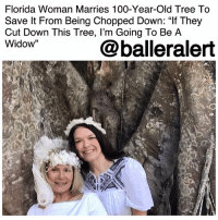 "Anaconda, Community, and Family: Florida Woman Marries 100-Year-Old Tree To  Save lt From Being Chopped Down: ""If They  Cut Down This Tree, l'm Going To Be A  Widow""  @balleralert Florida Woman Marries 100-Year-Old Tree To Save It From Being Chopped Down: ""If They Cut Down This Tree, I'm Going To Be A Widow"" – blogged by @MsJennyb ⠀⠀⠀⠀⠀⠀⠀⠀⠀ ⠀⠀⠀⠀⠀⠀⠀⠀⠀ In an effort to save a 100-year-old tree, a Florida woman has asked for its branch in marriage. ⠀⠀⠀⠀⠀⠀⠀⠀⠀ ⠀⠀⠀⠀⠀⠀⠀⠀⠀ According to The Miami Herald, the tree became part of a neighborhood controversy after Fort Myers city staff discussed chopping it down last year, despite its history in the Snell Family Park. However, after months of planning, the city agreed to a $13,000 spending budget to chop the tree, which in turn, sparked widespread backlash among those fond of the giant ficus. ⠀⠀⠀⠀⠀⠀⠀⠀⠀ ⠀⠀⠀⠀⠀⠀⠀⠀⠀ In fact, one woman took matters into her own hands, using tips from women who've been protesting deforestation in Mexico. Over the weekend, Karen Cooper jumped the broom with the tree in an attempt to save it from being cut down. ⠀⠀⠀⠀⠀⠀⠀⠀⠀ ⠀⠀⠀⠀⠀⠀⠀⠀⠀ In a waterfront ceremony that took place on Saturday, Cooper and a slew of other women who were dressed in white vowed to honor and protect the tree. The wedding was filled with the works, including flowers, a tree-decorated wedding cake, and a canine ring-bearer, as it was staged just three days before Tuesday's meeting about the tree's fate. ⠀⠀⠀⠀⠀⠀⠀⠀⠀ ⠀⠀⠀⠀⠀⠀⠀⠀⠀ Since then though, a spokesperson for the city, revealed that it is moving forward to save the beloved tree. ⠀⠀⠀⠀⠀⠀⠀⠀⠀ ⠀⠀⠀⠀⠀⠀⠀⠀⠀ ""Everyday city employees care for the trees and plants that give our city a sense of community and shared history,"" the spokesperson said. However, the tree's fate is not completely secure just yet, Cooper says. Tuesday will be the determining factor, and if the Beautification Board does not agree to save the tree, the city's councilman vowed to bring the issue to City Council. ⠀⠀⠀⠀⠀⠀⠀⠀⠀ ⠀⠀⠀⠀⠀⠀⠀⠀⠀ ""If they cut down this tree, I'm going to be a widow,"" Cooper said."