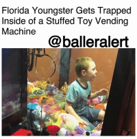 "Florida Youngster Gets Trapped Inside of a Stuffed Toy Vending Machine - blogged by: @ashleytearra ⠀⠀⠀⠀⠀⠀⠀ ⠀⠀⠀⠀⠀⠀⠀ On Wednesday, a young child was trapped inside of an arcade-style claw machine at a Florida restaurant, Fox News reports. ⠀⠀⠀⠀⠀⠀⠀ ⠀⠀⠀⠀⠀⠀⠀ According to Titusville Fire and Emergency Services, a little boy, by the name of Mason, was enjoying a nice evening of dinner out at the Beef O'Brady's restaurant, with his family, when he suddenly ended up on the inside of the establishment's stuffed toy machine. ⠀⠀⠀⠀⠀⠀⠀ ⠀⠀⠀⠀⠀⠀⠀ Reportedly, Mason wanted one of the toys for himself, and he wasted no time in going to get what he wanted... literally. ⠀⠀⠀⠀⠀⠀⠀ ⠀⠀⠀⠀⠀⠀⠀ ""This evening, little Mason was enjoying some food and decided [that] he wanted a stuffed animal,"" the emergency department wrote on their Facebook page. ""He wanted it so bad [that] he climbed into the game to get that toy!"" ⠀⠀⠀⠀⠀⠀⠀ ⠀⠀⠀⠀⠀⠀⠀ Apparently, Mason was unable to come back out the same way that he had entered. But, thankfully, at the time, an off-duty firefighter spotted the boy and quickly contacted his colleagues at the station. ⠀⠀⠀⠀⠀⠀⠀ ⠀⠀⠀⠀⠀⠀⠀ When rescuers arrived, it took no more than five minutes to get the youngster out of the machine. ⠀⠀⠀⠀⠀⠀⠀ ⠀⠀⠀⠀⠀⠀⠀ During the whole rescue process, officials described Mason to be very cooperative and said that he was ""never under any distress."" ⠀⠀⠀⠀⠀⠀⠀ ⠀⠀⠀⠀⠀⠀⠀ Subsequently, he managed to return to the dinner table... safe and sound. ⠀⠀⠀⠀⠀⠀⠀ ⠀⠀⠀⠀⠀⠀⠀ As for the machine, it only sustained a couple of minor damages.: Florida Youngster Gets Trapped  Inside of a Stuffed Toy Vending  Machine  @balleralert Florida Youngster Gets Trapped Inside of a Stuffed Toy Vending Machine - blogged by: @ashleytearra ⠀⠀⠀⠀⠀⠀⠀ ⠀⠀⠀⠀⠀⠀⠀ On Wednesday, a young child was trapped inside of an arcade-style claw machine at a Florida restaurant, Fox News reports. ⠀⠀⠀⠀⠀⠀⠀ ⠀⠀⠀⠀⠀⠀⠀ According to Titusville Fire and Emergency Services, a little boy, by the name of Mason, was enjoying a nice evening of dinner out at the Beef O'Brady's restaurant, with his family, when he suddenly ended up on the inside of the establishment's stuffed toy machine. ⠀⠀⠀⠀⠀⠀⠀ ⠀⠀⠀⠀⠀⠀⠀ Reportedly, Mason wanted one of the toys for himself, and he wasted no time in going to get what he wanted... literally. ⠀⠀⠀⠀⠀⠀⠀ ⠀⠀⠀⠀⠀⠀⠀ ""This evening, little Mason was enjoying some food and decided [that] he wanted a stuffed animal,"" the emergency department wrote on their Facebook page. ""He wanted it so bad [that] he climbed into the game to get that toy!"" ⠀⠀⠀⠀⠀⠀⠀ ⠀⠀⠀⠀⠀⠀⠀ Apparently, Mason was unable to come back out the same way that he had entered. But, thankfully, at the time, an off-duty firefighter spotted the boy and quickly contacted his colleagues at the station. ⠀⠀⠀⠀⠀⠀⠀ ⠀⠀⠀⠀⠀⠀⠀ When rescuers arrived, it took no more than five minutes to get the youngster out of the machine. ⠀⠀⠀⠀⠀⠀⠀ ⠀⠀⠀⠀⠀⠀⠀ During the whole rescue process, officials described Mason to be very cooperative and said that he was ""never under any distress."" ⠀⠀⠀⠀⠀⠀⠀ ⠀⠀⠀⠀⠀⠀⠀ Subsequently, he managed to return to the dinner table... safe and sound. ⠀⠀⠀⠀⠀⠀⠀ ⠀⠀⠀⠀⠀⠀⠀ As for the machine, it only sustained a couple of minor damages."