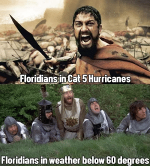 Floridians' Courage: Floridians in Cat 5 Hurricanes  Floridians in weather below 60 degrees Floridians' Courage