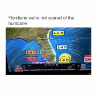 Hurricane, Media, and Newsroom: Floridians we're not scared of the  hurricane  4-6 ft  acksonyille  Orl  mpa  2-4 ft  an  5-8 ft  6-10 ft  4-6 ft  00p  booRY 5 HumuCANE IN  VEARs, STATE MEDIA REPORTS  . NEWSROOM Hahaha this is great! 😂😂