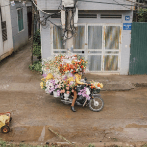 Flower Delivery - Hanoi - AKA the least aerodynamic thing I've ever seen.: Flower Delivery - Hanoi - AKA the least aerodynamic thing I've ever seen.