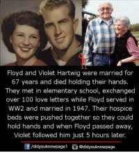 5 Hours Later: Floyd and Violet Hartwig were married for  67 years and died holding their hands.  They met in elementary school, exchanged  over 100 love letters while Floyd served in  WW2 and married in 1947. Their hospice  beds were pushed together so they could  hold hands and when Floyd passed away,  Violet followed him just 5 hours later.  f /didyouknowpagel  G @didyouknowpage