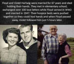 Damn ninjas be cutting onions: Floyd and Violet Hartwig were married for 67 years and died  holding their hands. They met in elementary school  exchanged over 100 love letters while Floyd served in WW2  and married in 1947. Their hospice beds were pushed  together so they could hod hands and when Floyd passed  away, Violet followed him just 5 hours later Damn ninjas be cutting onions