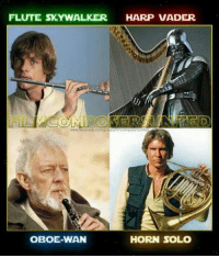 <p>The Star Wars Orchestra.</p>: FLUTE SKYWALKER HARP VADER  OBOE-WAN  HORN SOLO <p>The Star Wars Orchestra.</p>