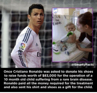 Brains, Cristiano Ronaldo, and Facts: Fly  Emiras  LFP  @Smarty Facts  Once Cristiano Ronaldo was asked to donate his shoes  to raise funds worth of $83,000 for the operation of a  10 month old child suffering from a rare brain disease.  Ronaldo paid all the money required for the treatment  and also sent his shirt and shoes as a gift for the child. What a man.
