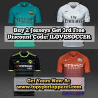 🎉🎉 16-17 Home, Away & Alternate Jerseys In Stock & Available @topsportapparel 🎉🎉 - Go to 💻www.topsportapparel.com💻 and get all your favorite team's official gear & merchandise‼️ - @topsportapparel @topsportapparel @topsportapparel - 🔥🆓Free Patches🆓🔥 ✨🆓Free Customization🆓 ✨ ✈️ Free Worldwide Shipping 🌎: Fly  Emirates  Buy Jerseys Get 3rd Free  Discount Code ILOVESOCCER  ETIHAD  YOKOHAMA  AER WAYS  TYRES  Get Yours Now At  wwwwww.topsportapparel com 🎉🎉 16-17 Home, Away & Alternate Jerseys In Stock & Available @topsportapparel 🎉🎉 - Go to 💻www.topsportapparel.com💻 and get all your favorite team's official gear & merchandise‼️ - @topsportapparel @topsportapparel @topsportapparel - 🔥🆓Free Patches🆓🔥 ✨🆓Free Customization🆓 ✨ ✈️ Free Worldwide Shipping 🌎