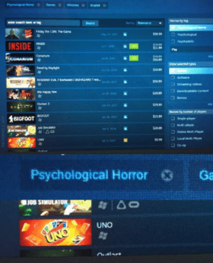 Steam, The Game, and Uno: Fnday the 13th the Game  INSIDE  Show select non  yas a sreaming videen  Downloadable Conte  Co-op  Psychological Horror  Ga  JOB SIMULAIOK  UNO Oh steam