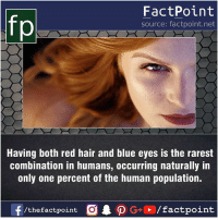 Facts, Friends, and Memes: fo  FactPoint  source: factpoint.net  Having both red hair and blue eyes is the rarest  combination in humans, occurring naturally in  only one percent of the human population.  f/thefactpoint  G+/factpoint Fact sources mentioned at www.FactPoint.net- did you know fact point , education amazing dyk unknown facts daily facts💯 didyouknow follow follow4follow earth science commonsense f4f factpoint instafact awesome world worldfacts like like4ike tag friends Don't forget to tag your friends 👍