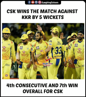 #CSKvKKR #IPL: fO/LaughingColours  CSK WINS THE MATCH AGAINST  KKR BY 5 WICKETS  ren  Group  The  Group  LAUGHING  RLA  AEROCO  s5  4th CONSECUTIVE AND 7th WIN  OVERALL FOR CSK #CSKvKKR #IPL