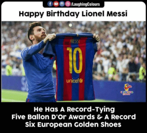 Birthday Wishes To Legend And Football Great #LionelMessi 🎂 🙂: fo/LaughingColours  Happy Birthday Lionel Messi  MESSI  10  unicef  LOYONING  He Has A Record-Tying  Five Ballon D'Or Awards & A Record  six European Golden Shoes Birthday Wishes To Legend And Football Great #LionelMessi 🎂 🙂