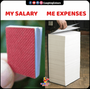 Expenses: fo /LaughingColours  MY SALARY  ME EXPENSES  LAUGHING  Colours