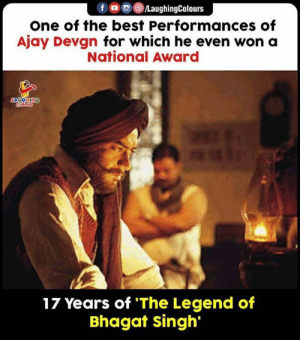 #TheLegendOfBhagatSingh #AjayDevgn #BhagatSingh: fo LaughingColours  one of the best Performances of  Ajay Devgn for which he even won a  National Award  LAUGHING  17 Years of 'The Legend of  Bhagat singh #TheLegendOfBhagatSingh #AjayDevgn #BhagatSingh