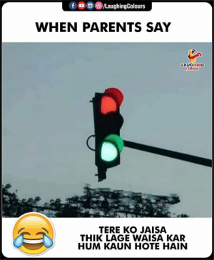 Parents, Indianpeoplefacebook, and Hum: fo LaughingColours  WHEN PARENTS SAY  LAUGHING  Clours  TERE KO JAISA  THIK LAGE WAISA KAR  HUM KAUN HOTE HAIN