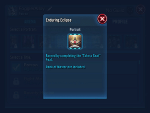 "Found this gem in Galaxy of Hero's or whatever it's called.: FoggierAlloy  (X  No Guild  Patron  Enduring Eclipse  ARENA  PROFILE  Select a Portrait:  Portrait  Earned by completing the ""Take a Seat""  Feat.  Select a Title:  Patron  Rank of Master not included.  Begin your jou  A Fight Me  Complete all  ntend  61  Bounty Hunter Found this gem in Galaxy of Hero's or whatever it's called."