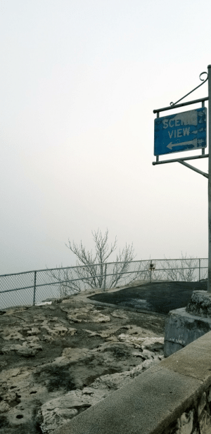 Foggy morning at the Branson Scenic Overlook.: Foggy morning at the Branson Scenic Overlook.