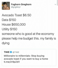 Family, Memes, and Millennials: Foghorn Greghorn  agrgdwyr  Avocado Toast $6.50  Data $150  House $650,000  Utility $150  someone who is good at the economy  please help me budget this. my family is  dying  TIME @TIME  Millionaire to millennials: Stop buying  avocado toast if you want to buy a home  ti.me/2r9pZdV