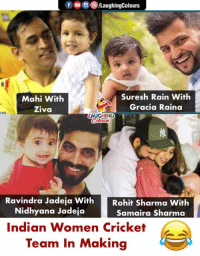 #IndianCricketTeam: foLaughingColours  Mahi With  Ziva  Suresh Rain With  Gracia Raina  AUGHING  Ravindra Jadeja With  Nidhyana Jadeja  Rohit Sharma With  Samaira Sharma  Indian Women Cricket  Team In Makina #IndianCricketTeam