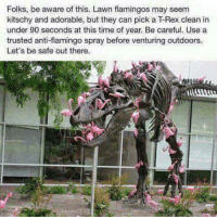 kitschy: Folks, be aware of this. Lawn flamingos may seem  kitschy and adorable, but they can pick a TRex clean in  under 90 seconds at this time of year. Be careful. Use a  trusted anti-flamingo spray before venturing outdoors.  Let's be safe out there.