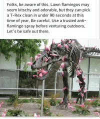 Raaawr: Folks, be aware of this. Lawn flamingos may  seem kitschy and adorable, but they can pick  a T-Rex clean in under 90 seconds at this  time of year. Be careful. Use a trusted anti  flamingo spray before venturing outdoors.  Let's be safe out there. Raaawr