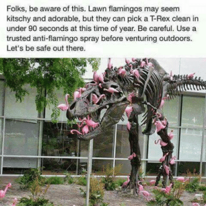 Eek!: Folks, be aware of this. Lawn flamingos may seem  kitschy and adorable, but they can pick a T-Rex clean in  under 90 seconds at this time of year. Be careful. Use a  trusted anti-flamingo spray before venturing outdoors  Let's be safe out there Eek!