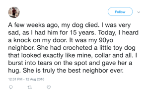 This is honestly the cutest thing: Follow  A few weeks ago, my dog died. I was very  sad, as I had him for 15 years. Today, I heard  a knock on my door. It was my 90yo  neighbor. She had crocheted a little toy dog  that looked exactly like mine, collar and all. I  burst into tears on the spot and gave her a  hug. She is truly the best neighbor ever.  12:31 PM - 12 Aug 2016 This is honestly the cutest thing