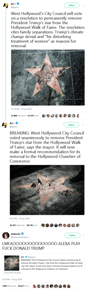 "theambassadorposts:Glad to see some people still admit when they're wrong 😂: Follow  @ajplus  West Hollywood's City Council will vote  on a resolution to perm anently remove  President Trum p's star from the  Hollywood Walk of Fame. The resolution  cites fam ily separations, Trump's climate  change denial and ""his disturbing  treatment of women"" as reasons for  removal  12:14 PM- 6Aug 2018  33,468 Retweets 91,329 Likes   Follow  @ajplus  BREAKING: West Hollywood City Council  voted unanimously to remove President  Trum p's star from the Hollywood Walk  of Fame, says the mayor. It will now  make a formal recommendation for its  removal to the Hollywood Chamber of  Commerce  8:52 PM - 6Aug 2018  12,472 Retweets 30,578 Likes   antonio  @antoniodelotero  Follow  LMFAOOOOOOOOOOOOOO ALEXA PLAY  FUCK DONALD TRUMP  AJ+ @ajplus  BREAKING: West Hollywood City Council voted unanimously to  remove President Trump's star from the Hollywood Walk of Fame,  says the mayor. It will now make a formal recommendation for its  removal to the Hollywood Chamber of Commerce.  Show this thread  9:16 PM- 6 Aug 2018  7,891 Retweets 25,657 Likes theambassadorposts:Glad to see some people still admit when they're wrong 😂"