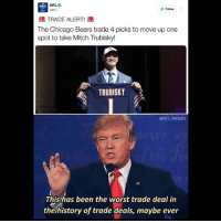 nice, @chicagobears: Follow  ATRADE ALERT!  The Chicago Bears trade 4 picks to move up one  spot to take Mitch Trubisky!  TRUBISKY  @NFL MEMES  This has been the worst trade deal in  the history of trade deals, maybe ever nice, @chicagobears