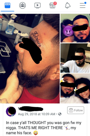 Came across this couple on Facebook, trashy to the max.: + Follow  Aug 29, 2018 at 10:09 AM  In case y'all THOUGHT you was gon fw my  nigga. THATS ME RIGHT THERE  my  name his face.  Adria Came across this couple on Facebook, trashy to the max.