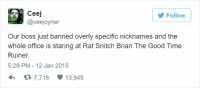 Snitch, Good, and Office: Follow  Ceej  @ceejoyner  Our boss just banned overly specific nicknames and the  whole office is staring at Rat Snitch Brian The Good Time  Ruiner.  5:29 PM- 12 Jan 2015  h3 7,718 13,945
