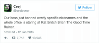 Snitch, Good, and Office: Follow  Ceej  @ceejoyner  Our boss just banned overly specific nicknames and the  whole office is staring at Rat Snitch Brian The Good Time  Ruiner.  5:29 PM - 12 Jan 2015  3 7,718 13,945