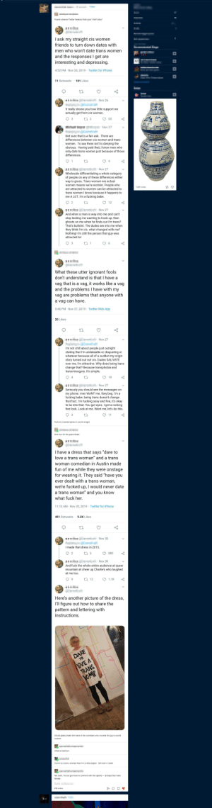 mEn WaNt Me: Follow  Found a trancel Twitter freakout that's just *chef's kiss*:  I ask my straight cis women  friends to turn down dates with  men who won't date trans women  and the responses I get are  interesting and depressing.  4:52 PM · Nov 26, 2019 · Twitter for iPhone  11 Retweets  101 Likes  Nov 26  It really shows you how little support we  actually get from cis women.  27 2  53  Nov 27  Not sure that is a fair ask. There are  differences between cis women and trans  women. To say there isn't is denying the  obvious. Having said that, I know men who  only date trans women just because of those  differences.  · Nov 27  Wholesale differentiating a whole category  of people on any of these differences either  way is gross. Trans women are actual  women means we're women. People who  7,820 notes  are attracted to women can be attracted to  trans women I know because it happens to  me A LOT. I'm a fucking babe.  12  Nov 27  And when a man is way into me and can't  stop texting me wanting to hook up, then  ghosts on me when he finds out I'm trans?  That's bullshit. The dudes are into me when  they think I'm cis. what changed with me?  Nothing! I'm still the person that guy was  attracted to!  3  27 1  6.  What these utter ignorant fools  don't understand is that I have a  vag that is a vag, it works like a vag  and the problems I have with my  vag are problems that anyone with  a vag can have.  5:46 PM · Nov 27, 2019 · Twitter Web App  20 Likes  Nov 27  I'm not chill about people just outright  stating that l'm undateable or disgusting or  whatever because all of a sudden my origin  story turned out not cis. Dudes SALIVATE  over me, I'm attractive. Why does being trans  change that? Because transphobia and  transmisogyny. It's simple.  4  19  Nov 27  Seriously you should see the messages on  my phone. men WANT me. they beg. I'm a  fucking babe. being trans doesn't change  that fact. I'm fucking sexy and fine, it's okay  to be into that. You got eyes. I got a ro