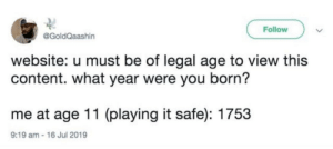 Dank, Memes, and Target: Follow  @GoldQaashin  website: u must be of legal age to view this  content. what year were you born?  me at age 11 (playing it safe): 1753  9:19 am- 16 Jul 2019 Play it safe by MythOak MORE MEMES