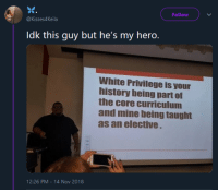 History, White, and My Hero: Follow  @Kisses4Keila  Idk this guy but he's my hero.  White Privilege is your  history being part of  the core curriculum  and mine being taught  as an elective  12:26 PM-14 Nov 2018 Where is the lie?