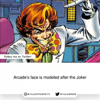 Arcade possesses a genius level I.Q. and has a natural aptitude for mechanics, architecture, and applied technology. A brilliant and innovative self-taught designer, Arcade applies his talents to the construction of the amusement park-like complexes of death traps which he calls Murderworlds. The countless Marvel regulars that've been trapped in his Murderworlds include Spider-Man, Ghost Rider, Doctor Doom, The Thing, the Micronauts, and like, ALL of the X-Men. Arcade remains one of the most enduring villains in the Marvel canon. Some say he is way more messed up than the Joker!: Follow me on Twitter!  Arcade's face is modeled after the Joker  CO VILLA INTRUEFACTS VILLAIN PEDIA Arcade possesses a genius level I.Q. and has a natural aptitude for mechanics, architecture, and applied technology. A brilliant and innovative self-taught designer, Arcade applies his talents to the construction of the amusement park-like complexes of death traps which he calls Murderworlds. The countless Marvel regulars that've been trapped in his Murderworlds include Spider-Man, Ghost Rider, Doctor Doom, The Thing, the Micronauts, and like, ALL of the X-Men. Arcade remains one of the most enduring villains in the Marvel canon. Some say he is way more messed up than the Joker!