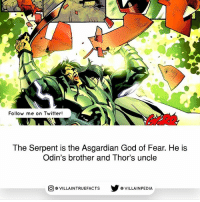 Family, God, and Memes: Follow me on Twitter!  The Serpent is the Asgardian God of Fear. He is  Odin's brother and Thor's uncle  VILLAINTRUEFACTS G VILLAINPEDIA  CO What a family...😓 | Source: Fear Itself: The Worthy (2011)