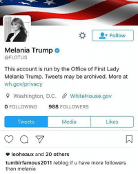 Melania Trump, Memes, and 🤖: Follow  Melania Trump O  (a FLOTUS  This account is run by the Office of First Lady  Melania Trump. Tweets may be archived. More at  wh.gov/privacy  Washington, D.C. S WhiteHouse.gov  0 FOLLOWING  988  FOLLOWERS  Media  Likes  Tweets  leoheaux and 20 others  tumblrfamous2011 reblog if u have more followers  than melania , cute