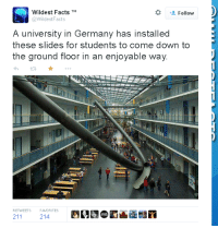 Come Down To:  # Follow  Wildest FactsM  @WildestFacts  A university in Germany has installed  these slides for students to come down to  the ground floor in an enjoyable way  RETUVEETS  21121e  FAO RITES