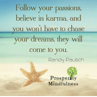 Follow your passions...: Follow your passions  believe in karma, and  you won't have to chase  your dreams, they will  come to you.  Randy Pausch  Prosperity  Mindfulness Follow your passions...