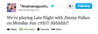Jimmy Fallon, Game, and Video: Following  Anamanaguchiu  @anamanaguchi  We're playing Late Night with Jimmy Fallon  on Monday Jun 17th!!! Ahhhhh!!  Reply RetweetedFavoriteMore <p>Anamanaguchi is helping us kick-off Video Game Week!</p>