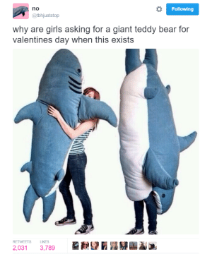 Giant Teddy: Following  no  @tbhjuststop  why are girls asking for a giant teddy bear for  valentines day when this exists  RETWEETS LIKES  2,031 3,789
